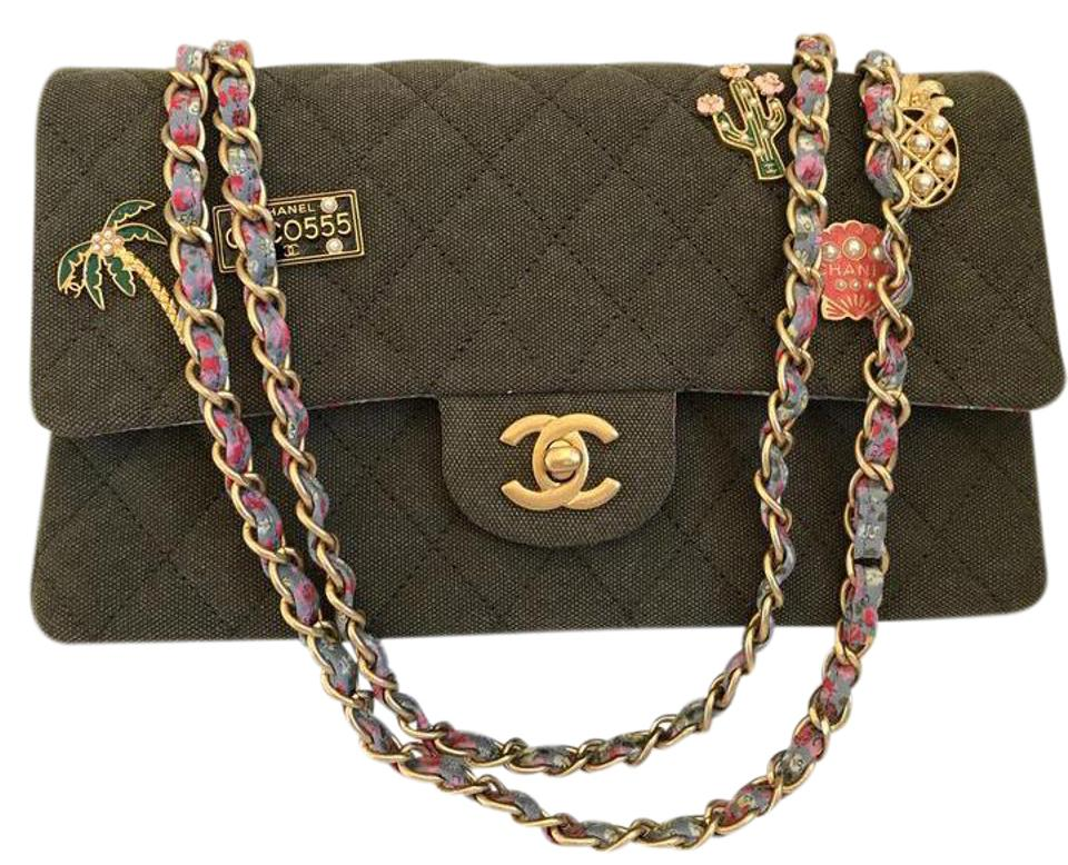 1961b90888ae23 Chanel Classic Double Flap Cruise Cuba Khaki with Multi Color Lining &  Charms Fabric Shoulder Bag
