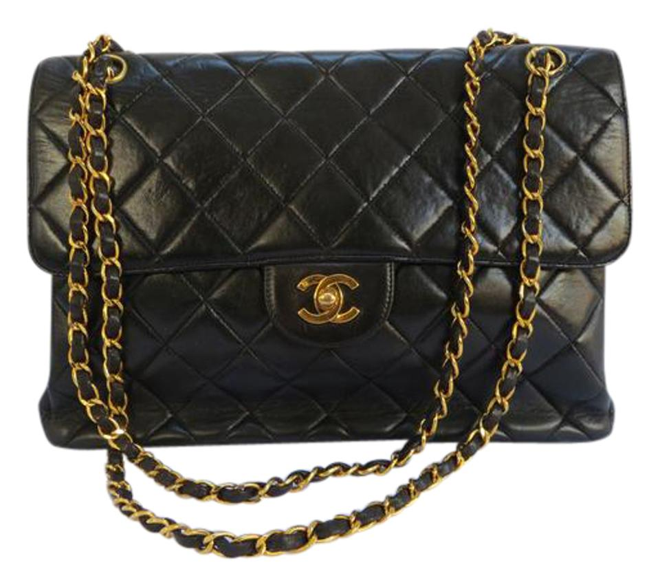 b6dc224a3329 Chanel Quilted Double Side Flap Handbag Jumbo Black Lambskin Leather ...