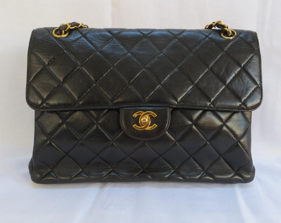 Chanel Quilted Double Side Flap Handbag Jumbo Black Lambskin Leather  Shoulder Bag - Tradesy a92d69e690b7a