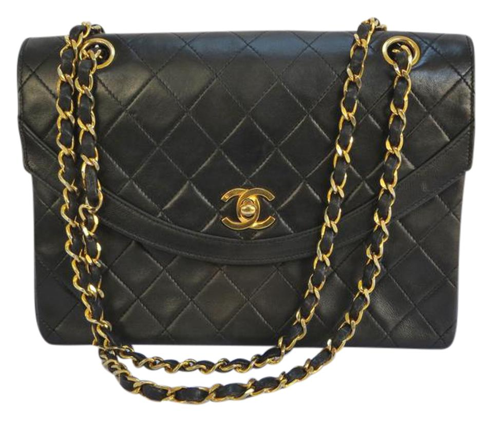 71dff708e074 Chanel Lamb Skin with Chain Black Leather Shoulder Bag - Tradesy