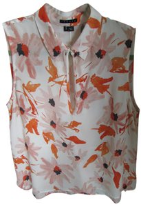 Theory Sleeveless Floral A-line Silk Top Orange & Black