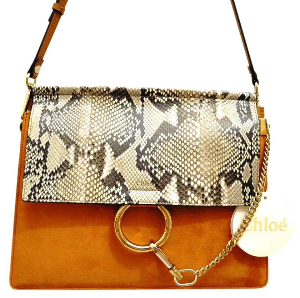 db1c32bde02 Chloé Faye Flap Brown Red (Tannish Red) Python / Suede / Calfskin Leather Shoulder  Bag
