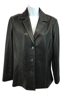 Casual Corner Leather Black Jacket