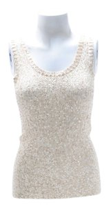 Donna Karan Cashmere Blend Sequin Top Ivory
