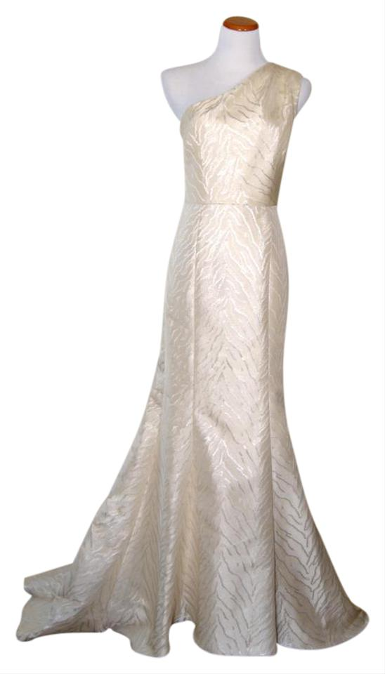 Monique Lhuillier Champagne with Metallic Jacquard One-shoulder ...