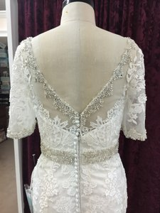 Justin Alexander Alabaster / Ivory Satin Tulle Lace 9729 Formal Wedding Dress Size 10 (M)