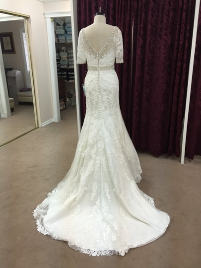 Justin Alexander Alabaster / Ivory Satin Tulle Lace 9729 Formal Wedding Dress Size 10 (M) Image 1