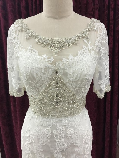 Justin Alexander Alabaster / Ivory Satin Tulle Lace 9729 Formal Wedding Dress Size 10 (M) Image 2