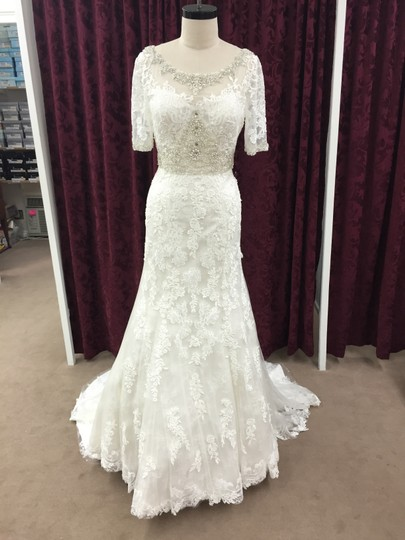 Justin Alexander Alabaster / Ivory Satin Tulle Lace 9729 Formal Wedding Dress Size 10 (M) Image 3