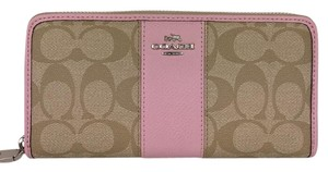 Coach coach ACCORDION ZIP WALLET IN SIGNATURE CANVAS WITH LEATHER