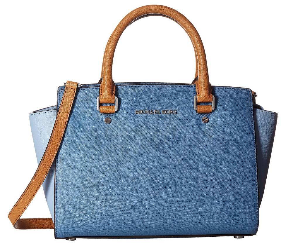 7bf31177b69d MICHAEL Michael Kors Selma Medium Leather Top 30f5slms2t Satchel in  Denim Pale Blue Acorn ...
