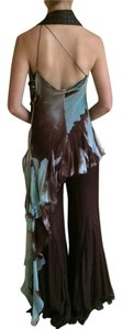 Angelo Mozzillo Flowy Italian Brown Halter Top