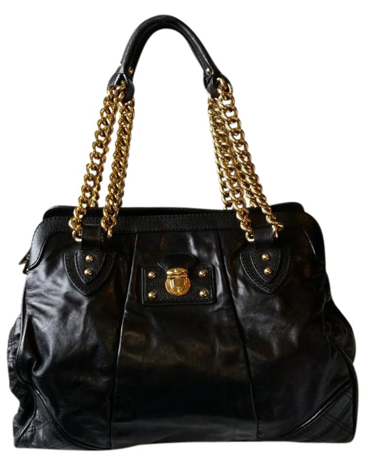 4aec4bee3a31 Marc Jacobs Quilted with Chain Strap Black Leather Shoulder Bag ...