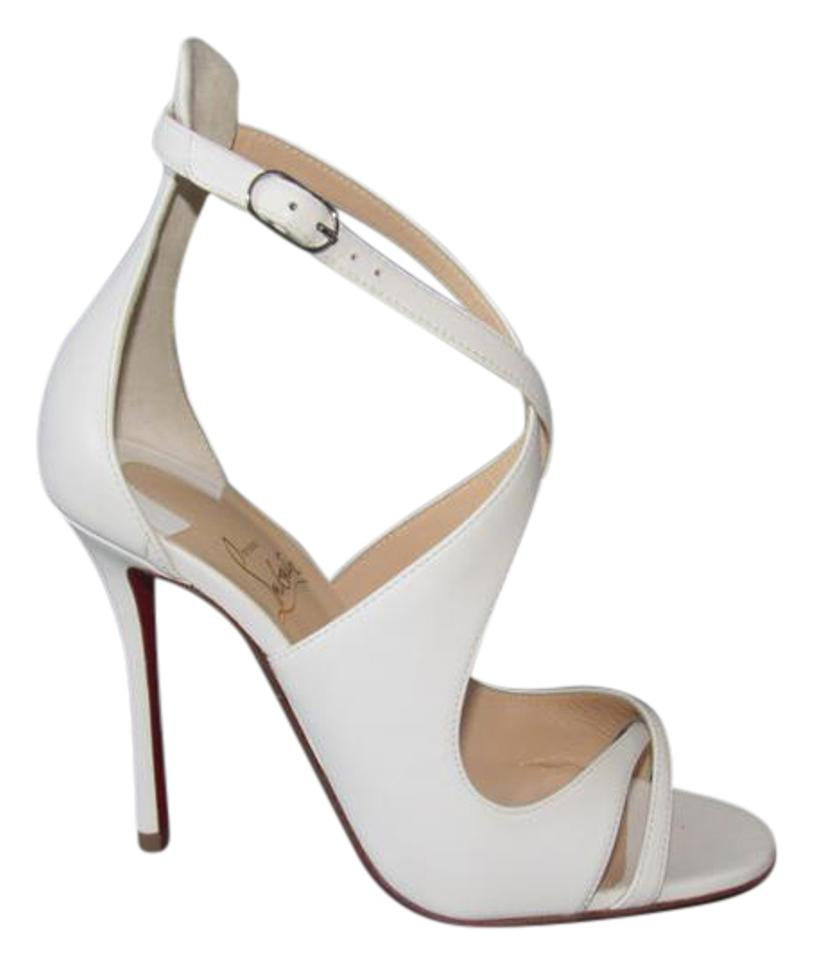 Christian Louboutin White New Euro Malefissima 100mm Leather Pumps Euro New 37.5 Sandals a897bf