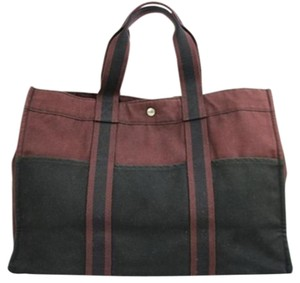 Hermès Tote in Black/Burgundy