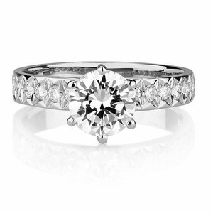 14 K White Gold 2.85 Ct Round Shape Solitaire 14k Engagement Ring