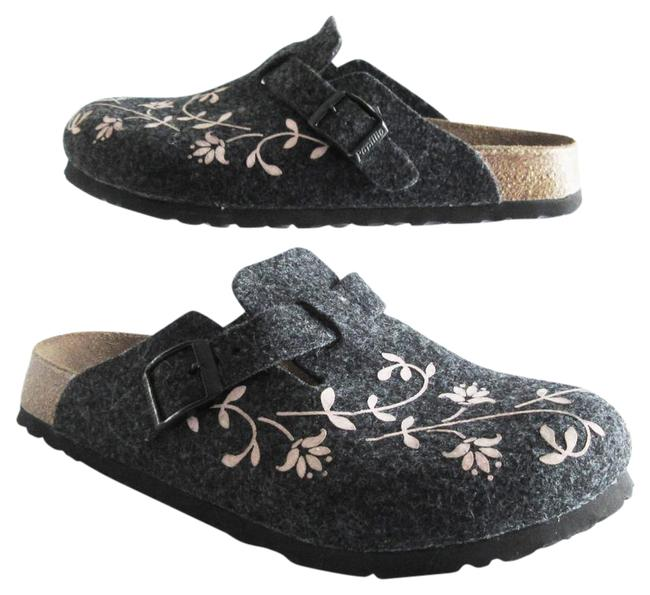 Item - Gray Pink Papillio and Floral Felt Wool Mules/Slides Size US 5 Narrow (Aa, N)