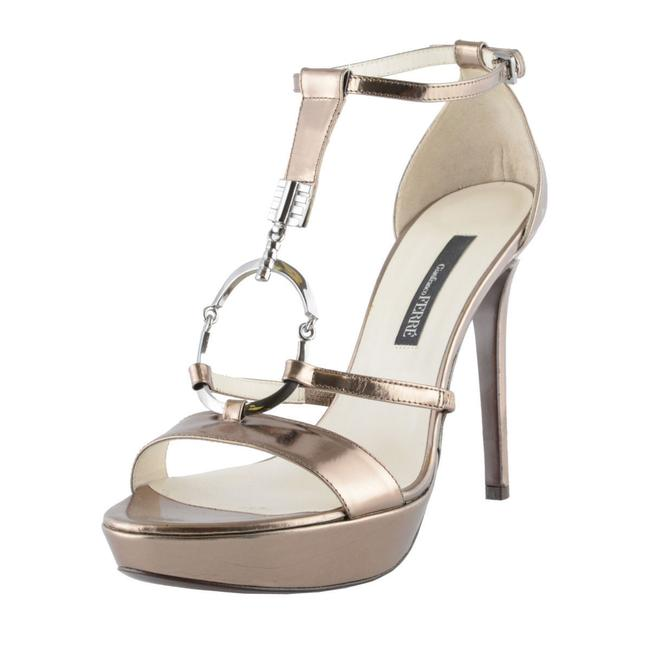 Item - Silver Women's Leather High Heel Ankle Strap Sandals Size US 10 Regular (M, B)