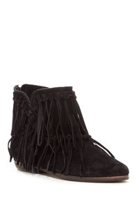 MTNG Black Fringed Moccasin Bootie Boots