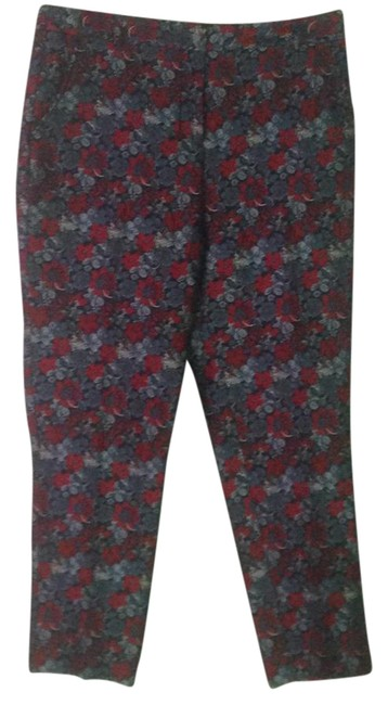 Item - Red Embroidered Floral Pants Size 8 (M, 29, 30)