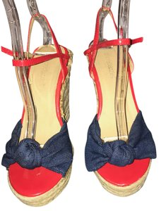 ShoeDazzle RED & BLUE Wedges