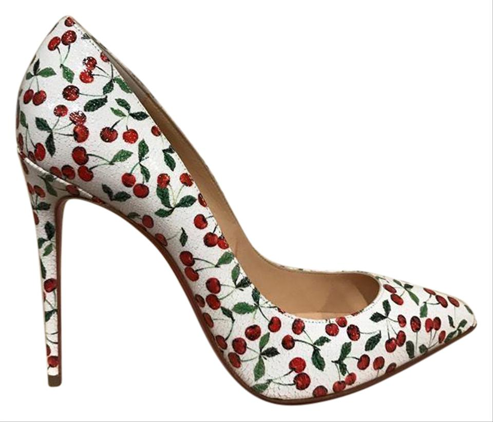 Christian 100 Louboutin White Pigalle Follies 100 Christian Red Cherry Heel 36.5 Pumps 68d609