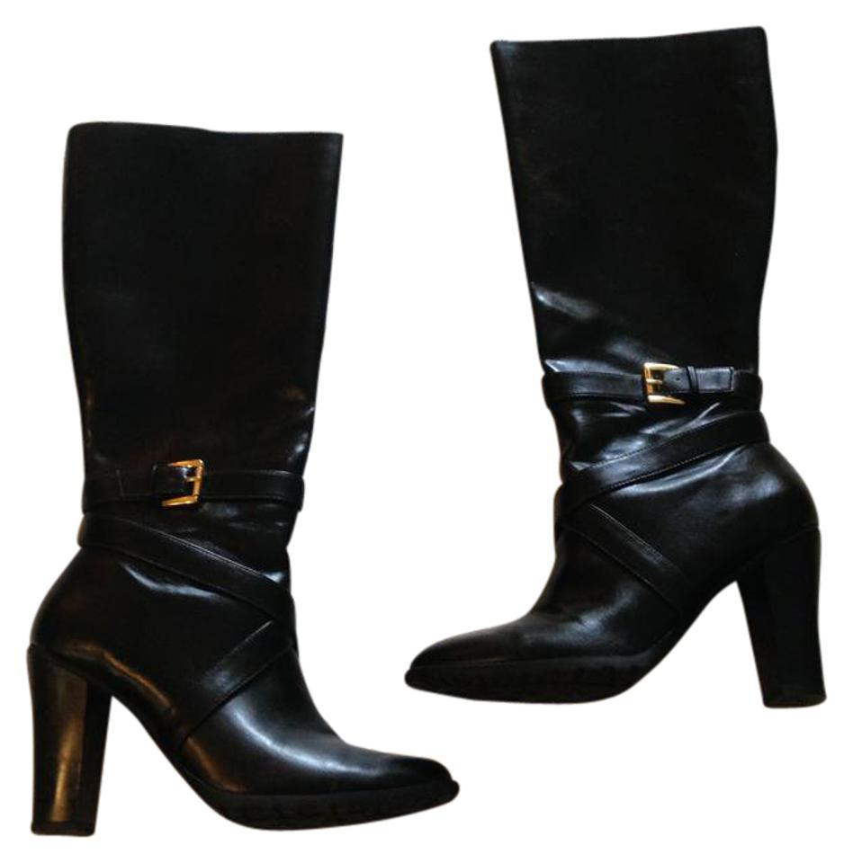 e774f4a85aa Ralph Lauren Black Strap and Buckle High Boots Booties Size US 9.5 ...