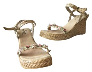 Sbicca Platform Sandal Strappy Hemp tan Wedges