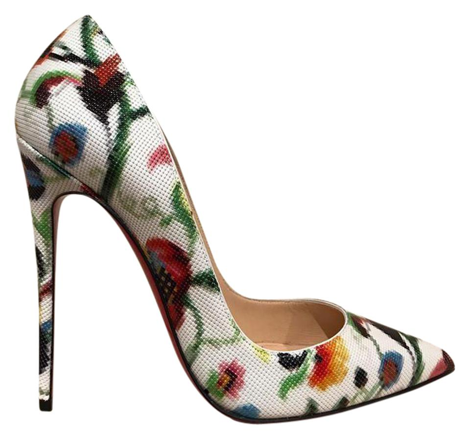 new arrival de40a a9f7f Christian Louboutin White So Kate 120 Mosaique Flower Patent Heel 35.5  Pumps Size US 5.5 Regular (M, B)