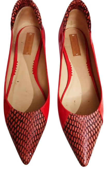 Item - Red Academy Snakeskin & Patent Leather Ballet Flats Size US 7 Narrow (Aa, N)