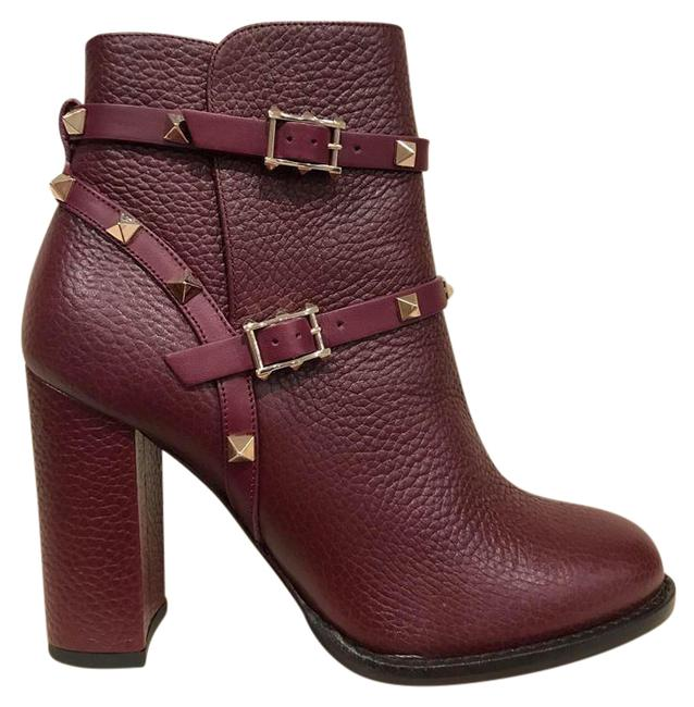 Item - Red Rockstud Wine Leather Buckle Ankle City Block Heel 36 Boots/Booties Size US 6 Regular (M, B)