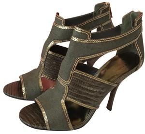 Tory Burch Olive Green Metallic Sandals