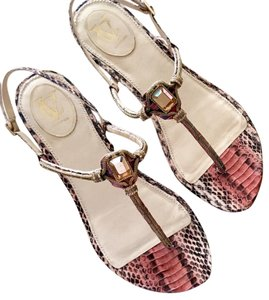 Vince Camuto Snakeskin Gemstone Flat Reds, salmon, gold yellow Sandals