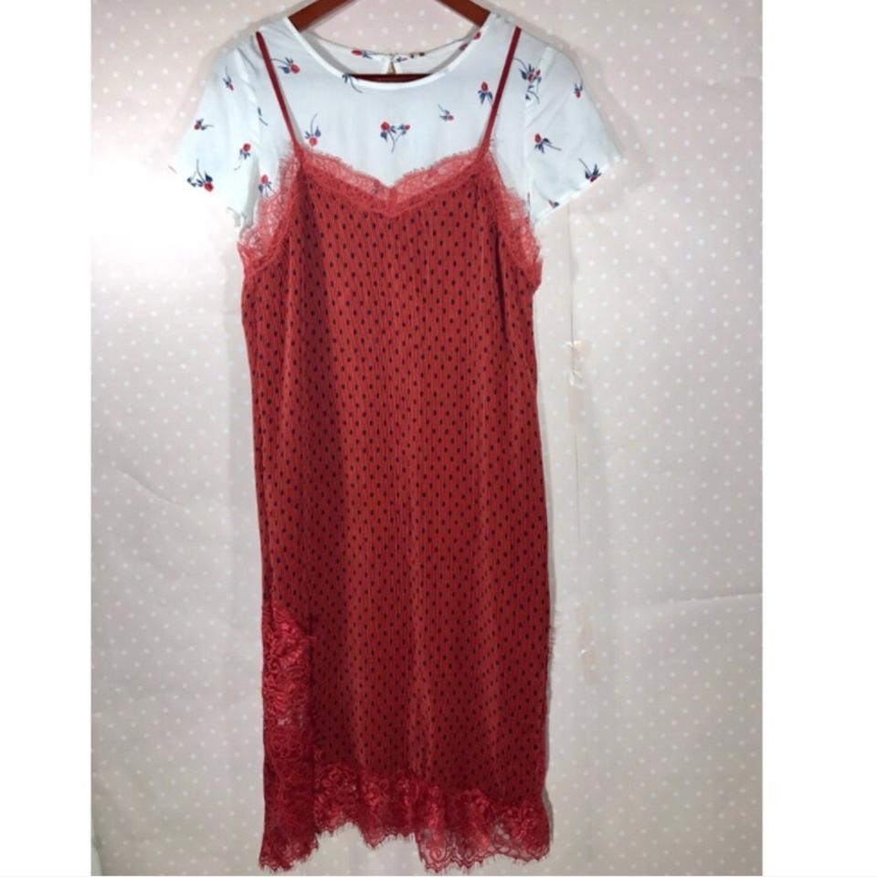 e5f462b07a2c Free People Margot Slip Red Polka Dot Floral Tee Combo Mid-length Short  Casual Dress Size 2 (XS) - Tradesy
