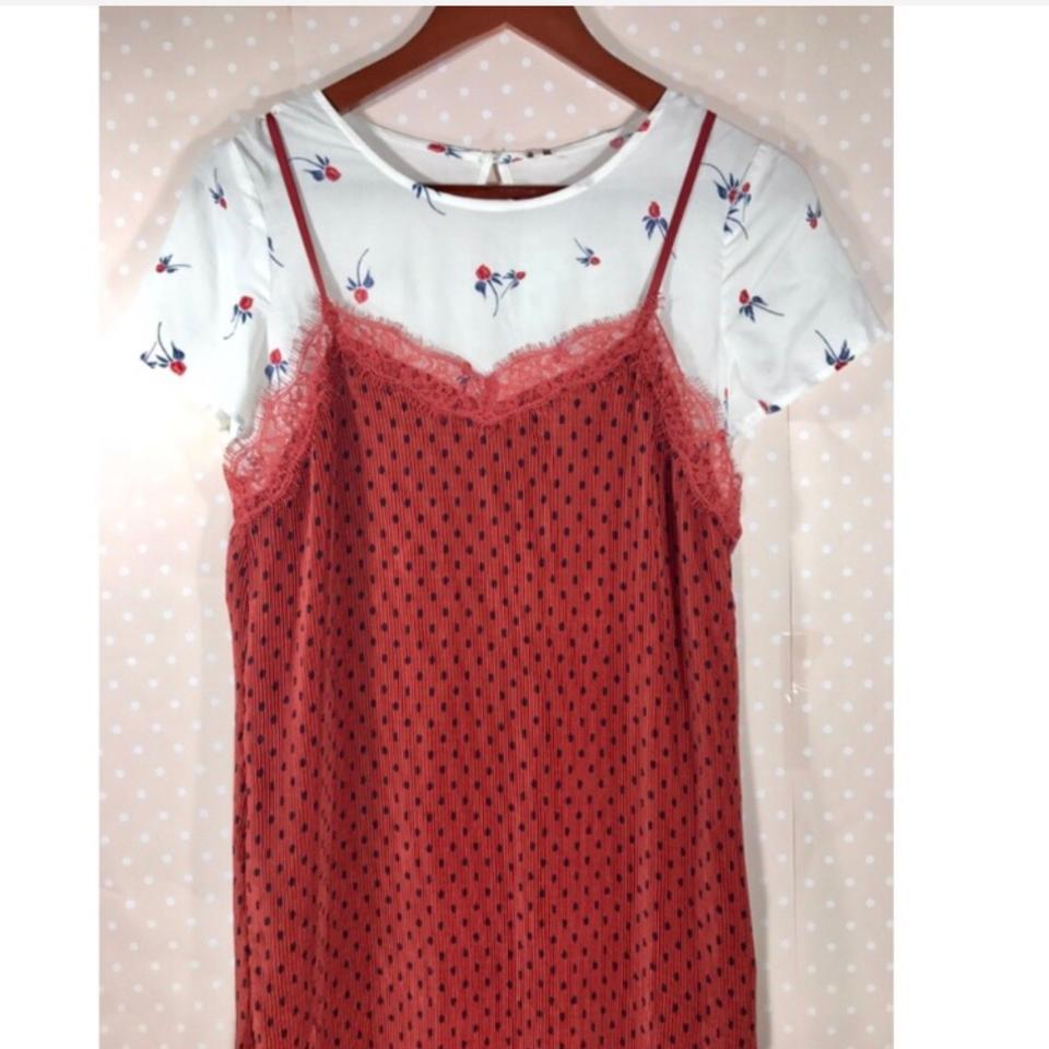 6d038acd063a Free People Margot Slip Red Polka Dot Floral Tee Combo Mid-length ...