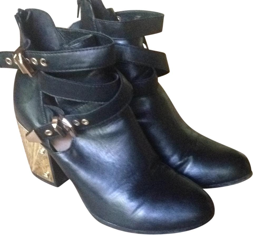 Justfab Black Metal Gold Heel Buckled Ankle Boots Booties Size Us 9