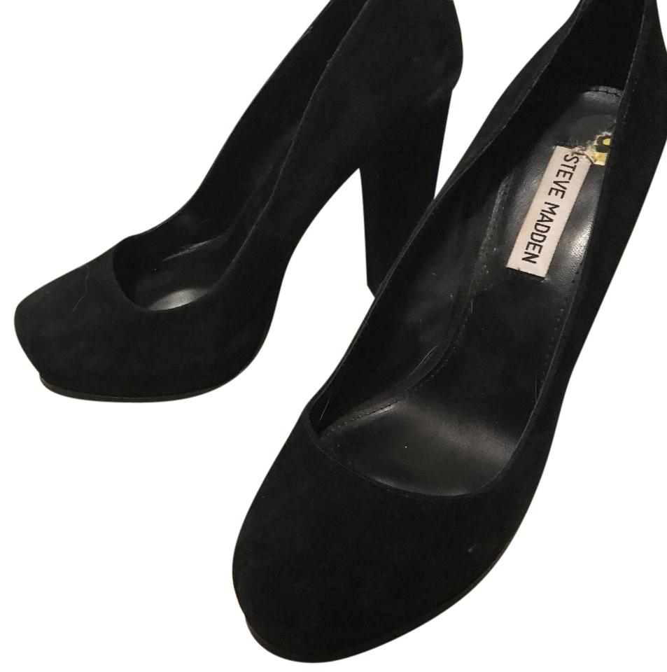 732e7b04361 Steve Madden Black Chunky Heel Suede Pumps Platforms Size US 9 Regular (M,  B) 65% off retail