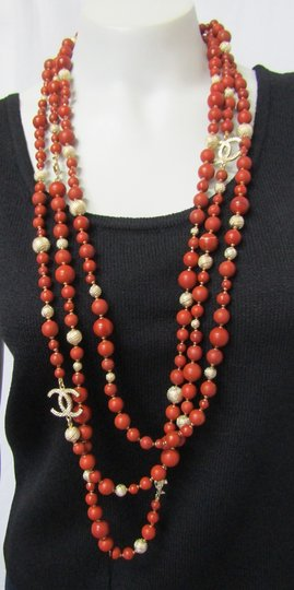 Chanel NEW CHANEL NECKLACE 3-Layers CC LOGO Marble Coral Beads 2016