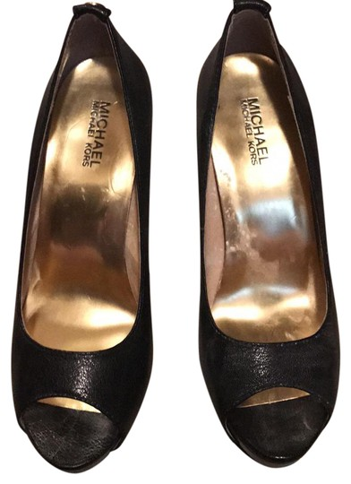 Michael Kors Heels Peep Toe Fall Leather Black Pumps Image 1