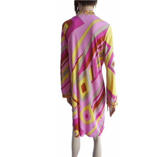 FLORA KUNG Bell Sleeve Large Size Mix Print Signed Print Dress Image 2
