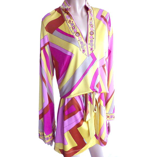 FLORA KUNG Bell Sleeve Large Size Mix Print Signed Print Dress Image 3