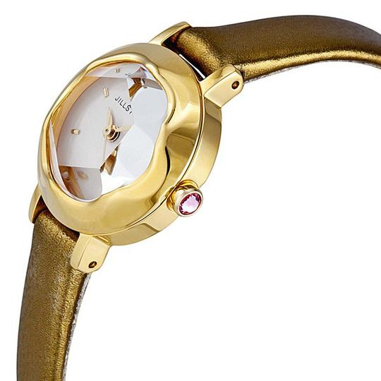 Jill Stuart Ring Light Pink Mother of Pearl Dial Green Leather Strap Ladies Watch