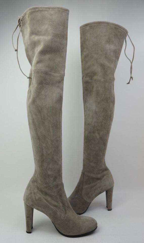 f2fc482e2b6 Stuart Weitzman Topo Grey Highland Over The Knee Suede Boots Booties ...