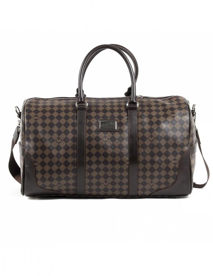 Versace 19 69 Checkered Designer Handbags Leather Crossbody Coffee Travel Bag
