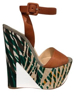 Christian Louboutin Ankle Strap Brown White Green Beige Multicolor Wedges