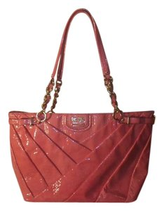 Coach Pleated Leather Patent Leather Tote in Pink