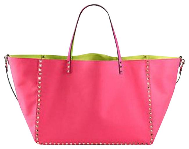 Item - Rockstud Reversible Pink and Yellow Canvas Tote