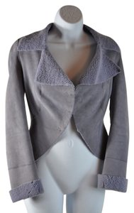 Emanuel Ungaro Lamb Suede Shearling Lilac Drape Size 34 Purple Leather Jacket