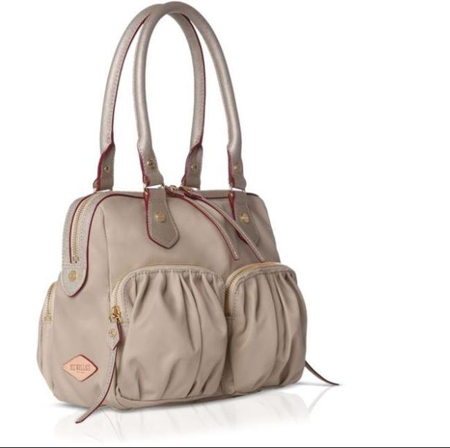 Item - Baby Jane Gold & Brown Glazed Linen with Leather Trim Satchel
