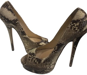 Jimmy Choo Peep Toe Snake skin Pumps
